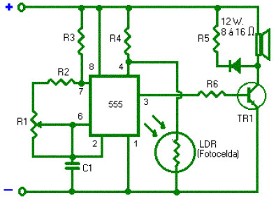 light alarm with timer 555 circuit schematic photocell labelled circuit diagram #8