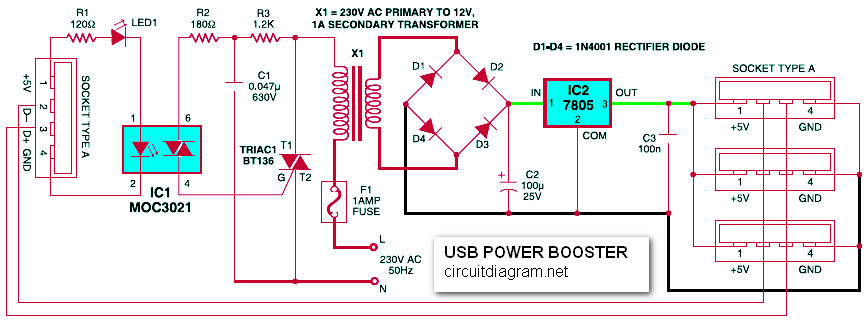 USB Power Booster for PC / Laptop - Circuit Schematic on usb front panel wiring diagram, usb circuit board schematics, usb to ps2 controller wiring diagram, usb cable diagram, usb audio diagram, usb solder diagram, led light bulb circuit diagram, vga to rca cable diagram,