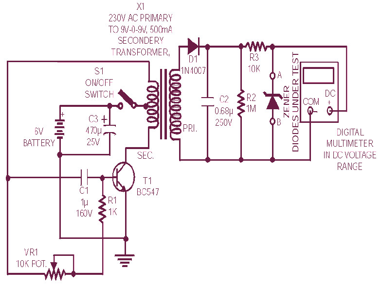 diode zener tester circuit schematic. Black Bedroom Furniture Sets. Home Design Ideas