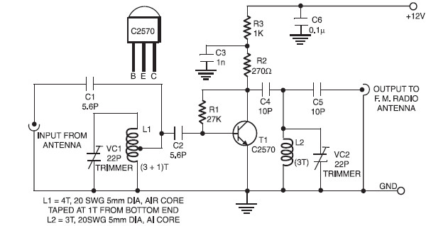 active fm booster circuit schematic rh circuitscheme com FM Circuit Diagram Block fm antenna booster circuit diagram