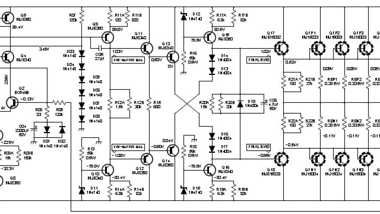 2000w class ab power amplifier - circuit scheme  circuit schematic diagram