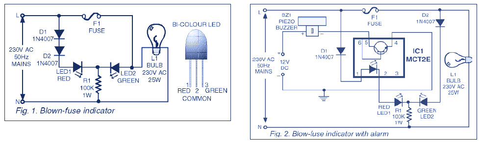 indicator circuit for mains 220v blown fuse circuit schematic rh circuitscheme com AC Fuse Blown Blown Fuse Glass