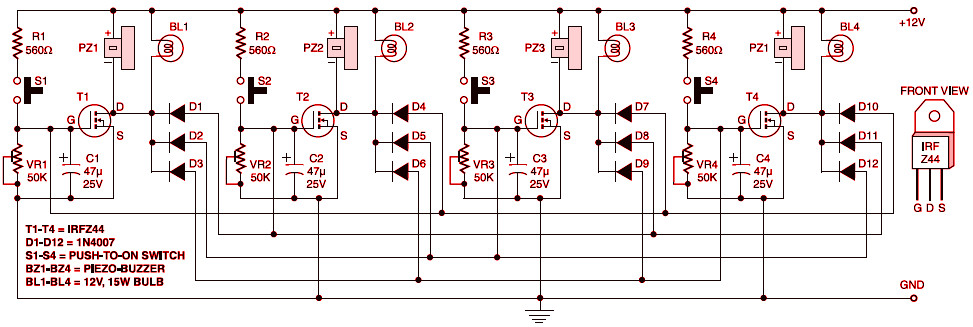 electronic quiz button table circuit schematic