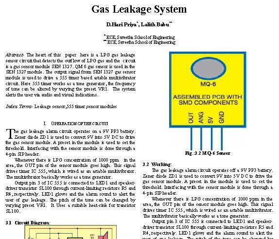 LPG Gas Leakage Sensor Alarm Report - Circuit Schematic