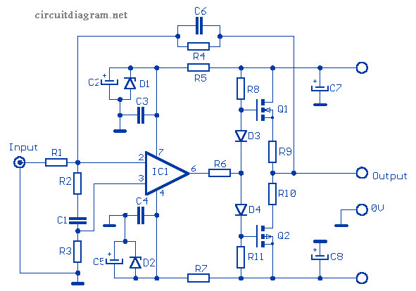 12w Audio Amplifier Based Mosfet 2sk135 2sj50 Circuit