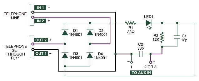 Home Telephone Call Recorder  Circuit Scheme