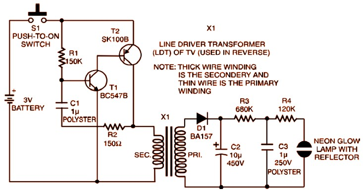 3v Strobe Light Miniature Circuit Scheme