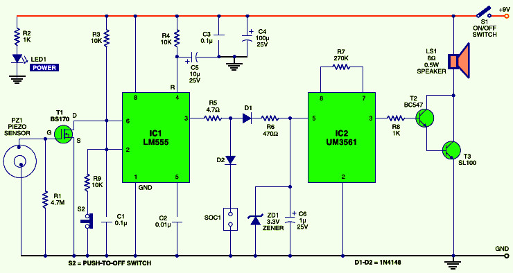 Vibration Sensor Alarm Circuit Design on power inverter circuit schematic diagrams