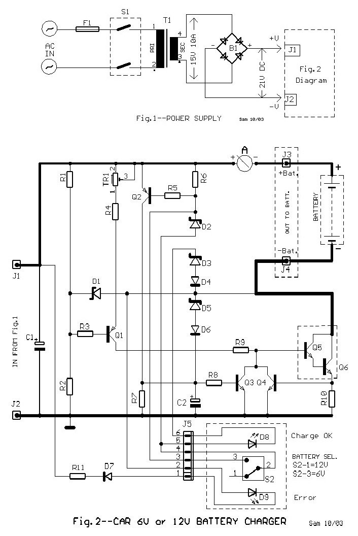 6V and 12V Car Battery Charger Circuit Design Diagram The initial charge current should be adjusted via the TR1 to...