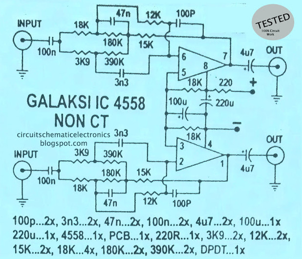 galaxy audio booster using rc4558 circuit scheme. Black Bedroom Furniture Sets. Home Design Ideas