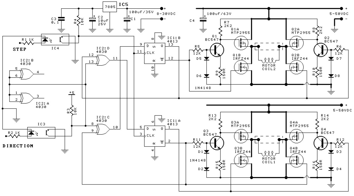 Bipolar stepper motor driver circuit schematic for Bipolar stepper motor driver circuit