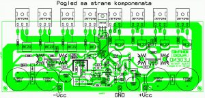 250W RMS Power Amplifier PCB Component Layout