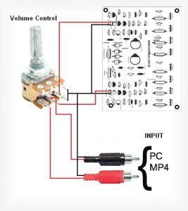 400W RMS Stereo Power Amplifier Input Connection with Volume Control