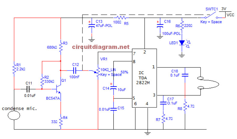 Small Sound Amplifier for Ears Circuit