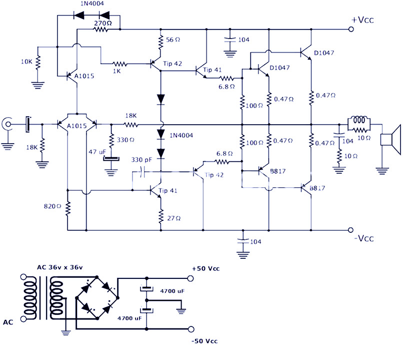 200w Power  lifier Using Transistor on battery charger circuits schematic
