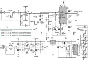 4in1 - 100W RMS Power Amplifier With VU, Power Supply and Tone Control Schematic