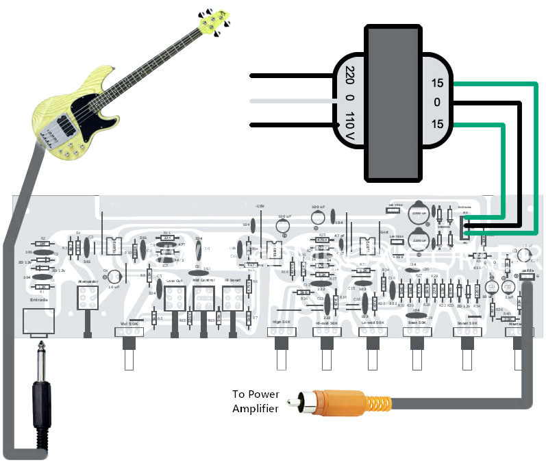 bass guitar preamp pedal connection circuit schematic. Black Bedroom Furniture Sets. Home Design Ideas