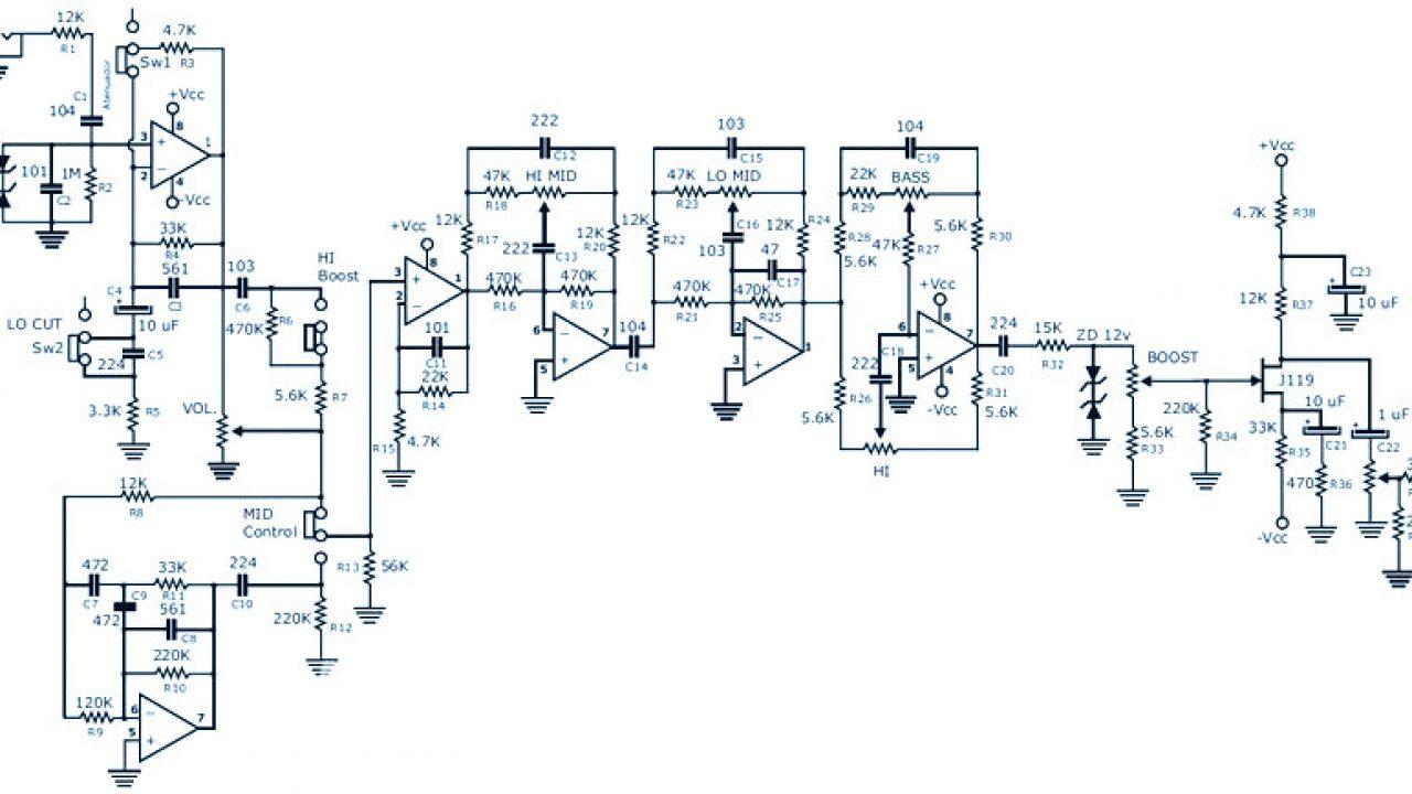 Bass Guitar Preamp Pedal DIY : Schematic & PCB Design