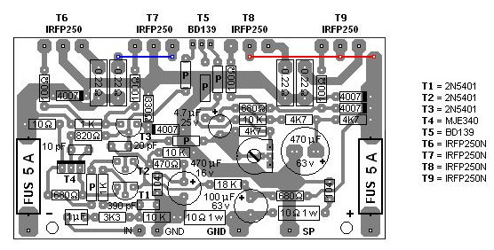 200W MOSFET Amplifier based IRFP250N - Circuit Schematic