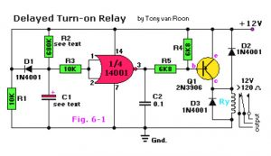 Delayed Turn-on Relay Schematic Diagram